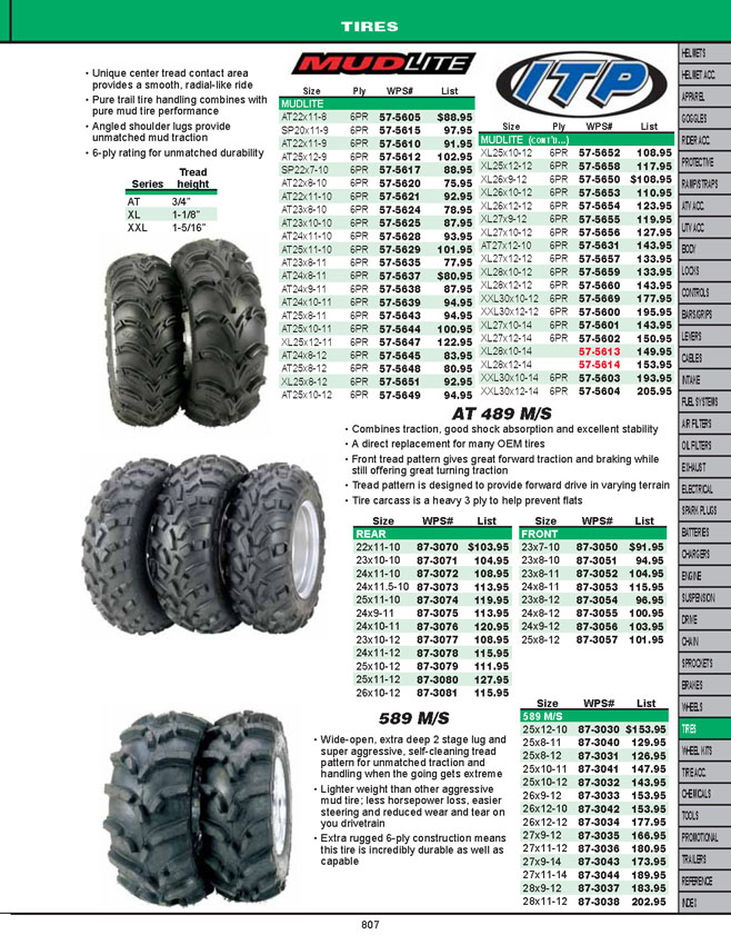 Mud Lite ATV Tire Sizes